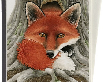 Fox Hole Greeting Card by Tracy Lizotte