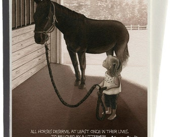 Girl with Horse Greeting Card by Tracy Lizotte