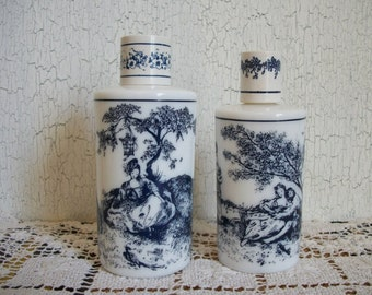 Pair of Blue Transferware Perfume Bottles French Country Life Toile Milk Glass Perfume Bottles Tuvache' Reverie Courting Couple