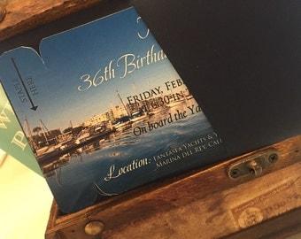 Yacht boarding pass invitation. California wedding invitation.