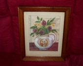 WATERCOLOR Painting Frame Wedgwood Pitcher Flowers Floral Antique