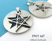 Double Pentagram Charm Pentacle Charm Wiccan Charm Pendant Pewter 30mm (PWT 447) BlueEchoBeads  1 pc