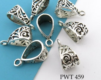 Pewter Charm Bail Large Decorative Openwork Pendant Bail Antiqued Silver 20mm (PWT 459) 8 pcs BlueEchoBeads