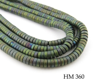 Tiny 3mm Matte Dark Forest Green Hematite Small Heishi Disk Bead 3mm x 1mm (HM 360) BlueEchoBeads