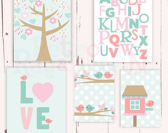 Love Birds  Word  Art Pink Owl  Nursery Art  Print Set Baby Girl Room Decor