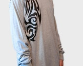 Men's Long Sleeve T-Shirt, Tribal T-shirt, Tattoo T-Shirt, Heather Grey, Tattoo, Inked, Gift for Him