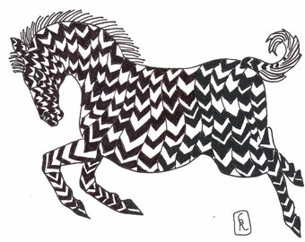 b and w art / black and white / wall decor / zebra lover / decor zebra / zen / zentangle / child art / animal lover / 8 x 10 / P152