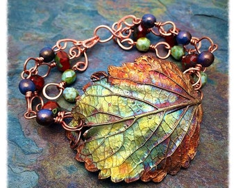 Real Copper Iridescent Coleus Leaf Bracelet, Czech Glass Beads, Statement, NC, Personalized Option, Copper, Artisan Jewelry