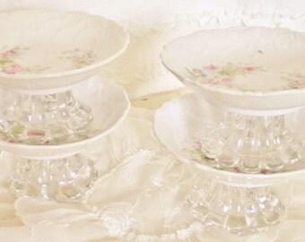 Set of 4 Matching Vintage China Pedestal Dishes