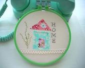 Embroidery Hoop Art, Hoop Art, House Hoop Art, Wall Decor, Wall Hanging, Color Hoop Art