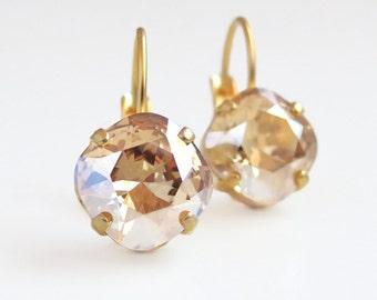 Golden Crystal Leverback Earring - Square Cushion Cut Earrings - Bridal Jewelry - Bridesmaid Jewelry - Swarovski