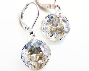 Moonlight crystal dangle earrings - wedding jewelry - bridesmaid jewelry