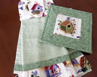 Birdhouse Hanging Kitchen Towel and Quilted Pot Holder