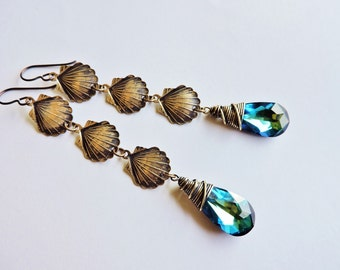 Bermuda Blue Swarosvki Seashell Mermaid Earrings