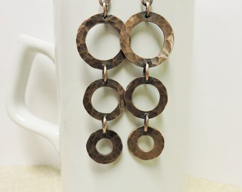 Copper Hammered Cascading Hoops