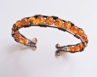 Copper Wire Wrapped Cuff Bracelet with Genuine Amber