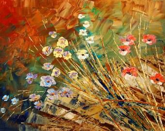 Flower Painting Palette Knife Original Art Handmade Field Meadow Wall Decor - by Tatiana Iliina - Made to order