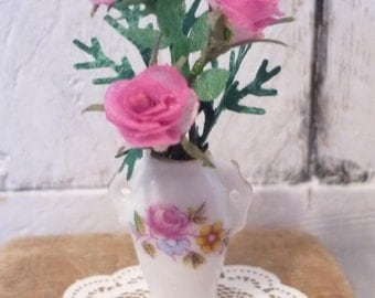Sweet Dollhouse Vase and Roses