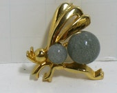 Vintage Trifari Fly dragonfly Bee Jelly Belly Brooch Pin Crown Mark