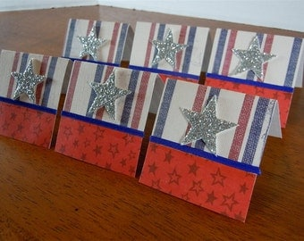 Silver Stars and Stripes Mini Cards 2x2 (6)