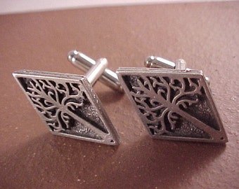 SALE Pewter White Tree Clothing Button Cuff Links - Free Shipping to USA