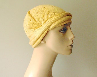 Hand Knit Headband/ Bandana  - Designers Cotton Yarn