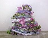 lavender fields fiber effects™  art yarn bundle 12yds . ribbons specialty yarns embellishment pack . lilac purple mint moss sage sparkle