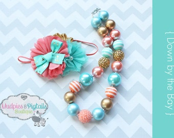 Nautical Chunky Necklace, baby headband { Down by the Bay } coral, aqua, gold, anchor First birthday, Summer Cake smash photography prop