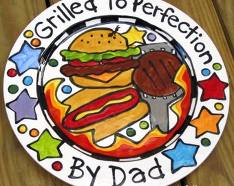 "CUSTOM 13""  BBQ Family  Platter Personalized great for dad too grill food plate"