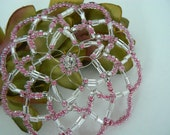 Pink beaded kippah, sparkly bead in center.  Bat mitzvah gift.  Clear glass beads.  Gift box.
