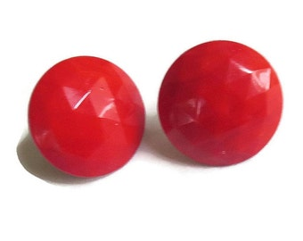 Vintage Red Plastic Faceted Button Earrings