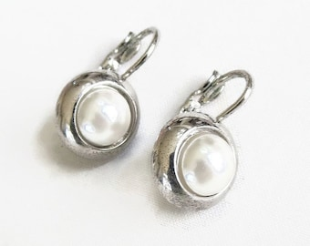 Vintage White Faux Pearl Earrings signed N for Napier