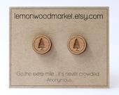 Evergreen tree earrings - alder laser cut wood earrings