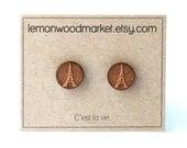 Eiffel tower earrings - alder laser cut wood earrings