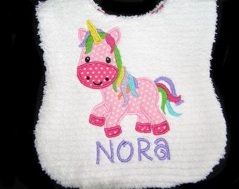 Personalized Handmade Baby Bib - Appliqued Pink Unicorn - White Chenille - Reversible