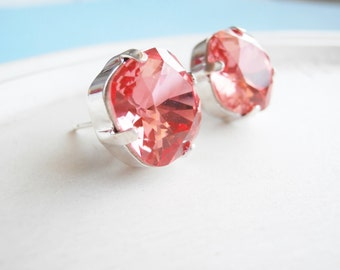Pink Swarovski Cushion Cut Stud Earrings - Watermelon Pink Sparkly Posts
