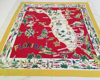 Vintage Florida tablecloth with flamingos, palm trees and bathing beauties 1950s primary colors