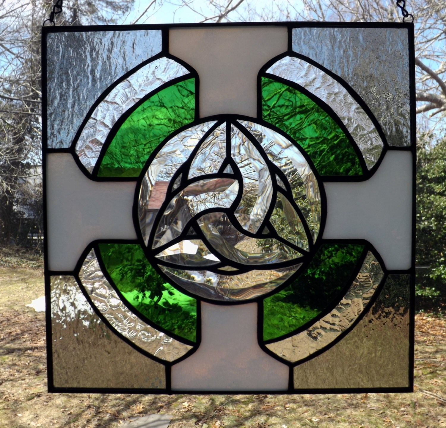 Celtic Knot Stained Glass Panel