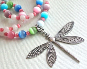 Dragonfly Beaded Necklace - Dragonfly Jewelry,  Nature Jewelry, Multi Colored, Pastel Colors,