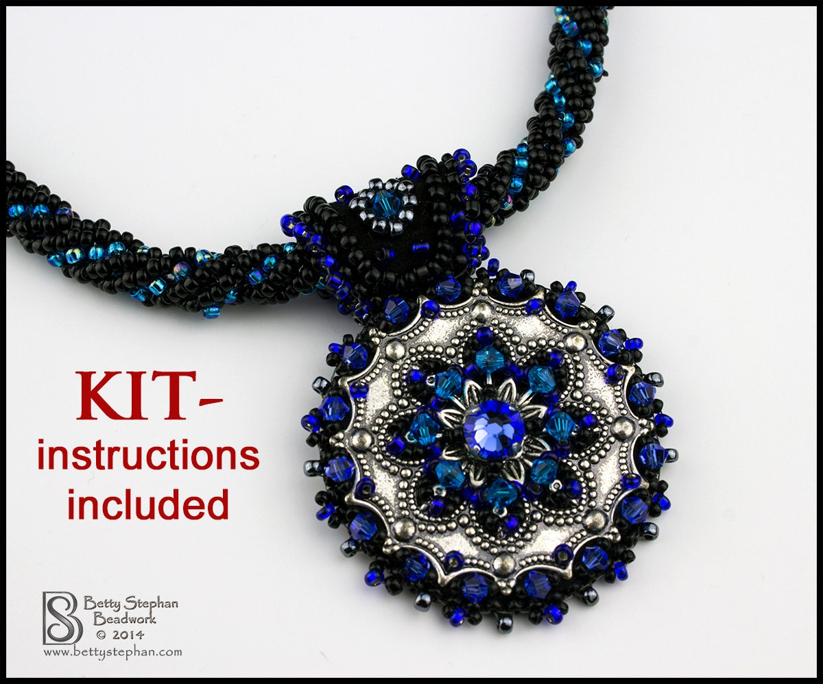 Metallia necklace kit blue bead embroidery weaving