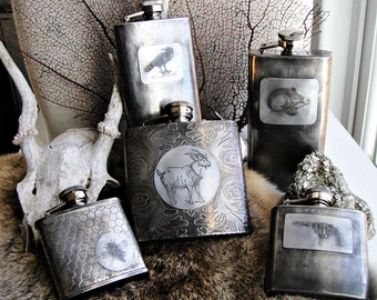 Batch No. 7 Assorted Flasks in Etched & Embossed Designs