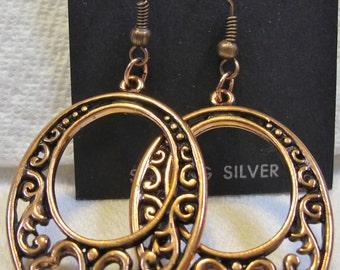 Awesome Pierced Copper  Earrings pr