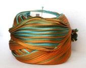 1/2 yd Silk Ribbon Hand Dyed Shibori Silk Ribbon Turquoise Orange Green Shibori Girl