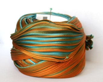 1/2 yd Shibori Ribbon Hand Dyed Silk Ribbon Turquoise Orange Green Shibori Girl
