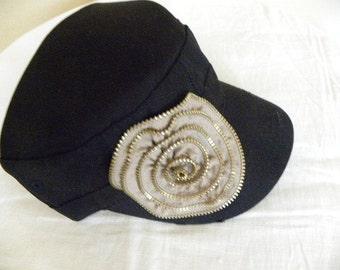 Black Military Cadet Cap with Khaki Metal Zipper