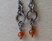 Eva Carnelian Sterling Silver Rustic Earrings, Oxidized  Short Organic Earrings
