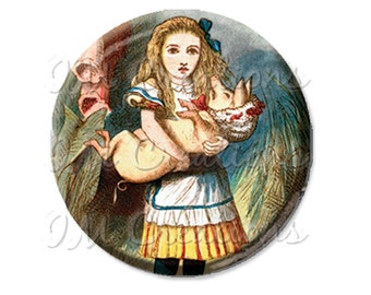 "Pocket Mirror, Magnet or Pinback Button - Wedding Favors, Party themes - 2.25""- Alice In Wonderland Alice and Pig MR357"
