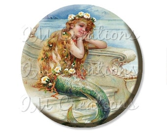 "Pocket Mirror, Magnet or Pinback Button - Wedding Favors, Party themes - 2.25""- Little Sweet Mermaid MR405"