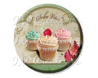 "Pocket Mirror, Magnet or Pinback Button - Wedding Favors, Party themes - 2.25""- Dolce Vita MR424"