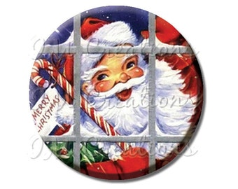 "Pocket Mirror, Magnet or Pinback Button - Favors - 2.25""- Vintage Santa Claus Window MR204"
